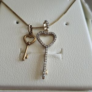 2 10K Yellow Gold Heart And Key Charms